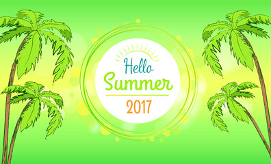 Hello Summer Time Banner in Round Frame, Vector