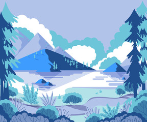 Winter landscape with mountains, pines and hills. Vector illustration