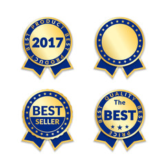 Blue ribbon awards best seller label set. Gold ribbon award icons isolated white background. Best quality design for badge, medal, best price, certificate guarantee product Vector illustration