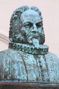 Iceland, Reykjavik. Bust In Front Of Domkirkja (Church) On Austurvollur Square. statue of Jon Vildalin 1666-1720, by R Jonsson