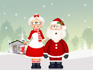 illustration of Santa Claus with his wife
