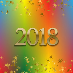 2018 New Year greeting card template on colorful blended background with glittering stars.