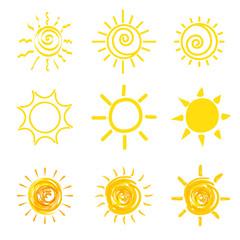 set of yellow sun icons