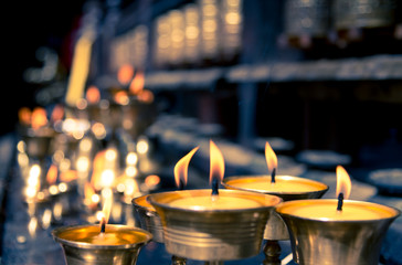 candles in temple in Nepal