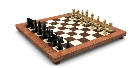 3d rendered Chess battle on wood board isolated on white background