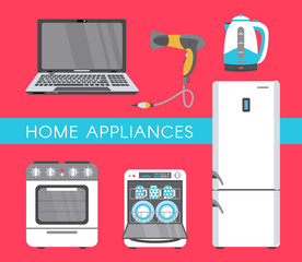 vector home appliance advertising poster banner design. Gas stove, dishwasher, electric kettle or teapot, hair dryer, fridge icon set. Isolated illustration on a white background.
