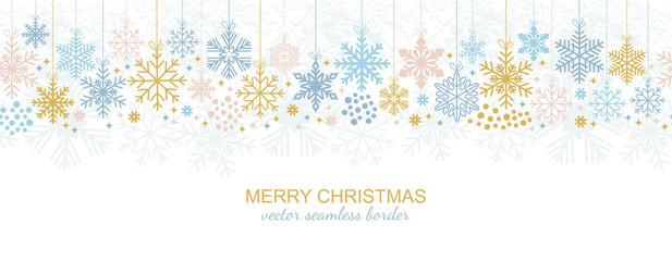 Seamless snowflake border, festive decoration isolated on white background, Merry Christmas design for greeting card or postcard. Vector illustration, xmas snow flake header or banner