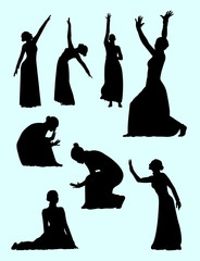 Opera & theater  gesture silhouette 04. Good use for symbol, logo, web icon, mascot, sign, or any design you want.