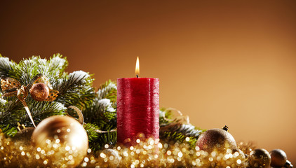 Festive Advent and Christmas still life background