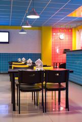 restaurant interior in pop art style