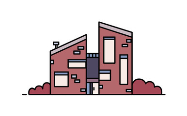 Fototapete - Brick house built in contemporary architectural style using eco materials. Modern city building isolated on white background. Sustainable architecture. Colorful vector illustration in line art style.