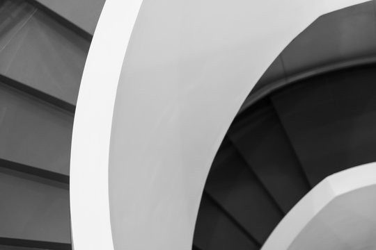 Black and white spiral stairs abstract fragment