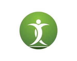 Health people leaf logo design template