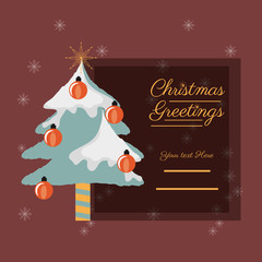 christmas greetings design with pine with snow icon over red background colorful design vector illustration