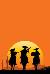 Silhouette of Mexican playing music, Vector