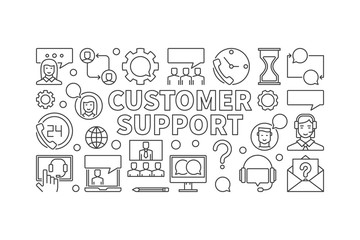 Customer support linear illustration - vector banner