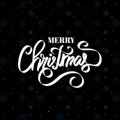 Merry Christmas text. Calligraphic Lettering. Creative typography for Holiday Greeting cards.