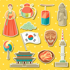 Korea icons set. Korean traditional sticker symbols and objects
