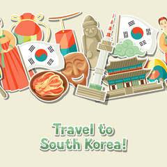 Korea seamless pattern. Korean traditional sticker symbols and objects