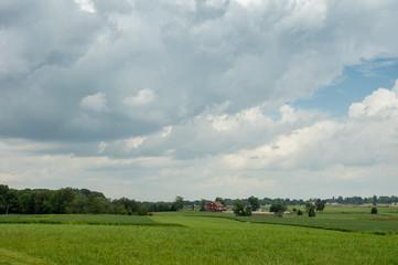Wall Mural - Lush Farmland under Cloudy Skies