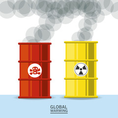 poison and nuclear barrels icon colorful design vector illustration