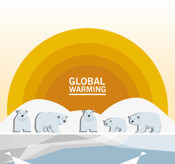 global warming design with sun and polar bears icon colorful design vector illustration
