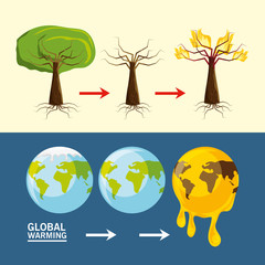global warming design with trees and earth planets icon  vector illustration