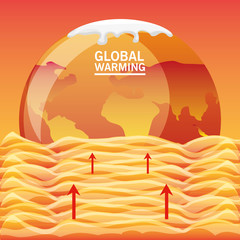 global warming design with orange earth planet and water waves  vector illustration