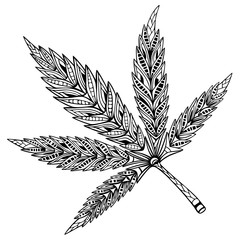 Cannabis leaf. Doodle and zentangle style. Hand drawn coloring book. Vector illustration.
