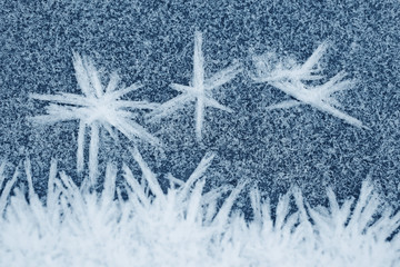 Frozen ice crystals on the ground, for backgrounds or textures