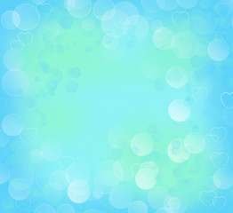 Color gradient background with bokeh and hearts