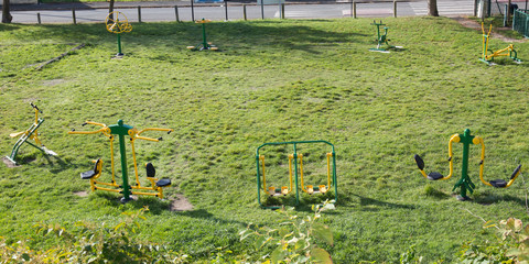 outdoor sport green playground for adult in city park