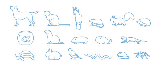 Collection of pet icons drawn with blue contour line on white background. Set of domestic animal linear symbols. Vector illustration. Fotomurales