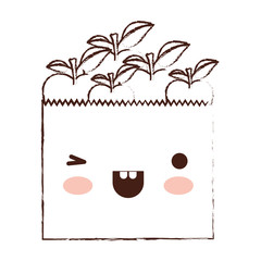 kawaii paper bag with apple fruits in brown blurred silhouette