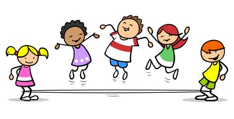 Kinder spielen zusammen Gummitwist in Schule