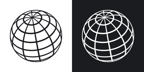 Vector global communications icon. Two-tone version on black and white background