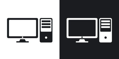 Vector desktop computer icon. Two-tone version on black and white background