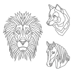 Geometric vector set with animal heads of lion, wolf and horse, drawn in line or triangle style, suitable for modern tattoo templates, icons or logo elements.