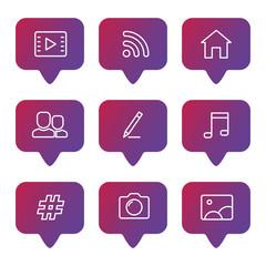 Wall Mural - Social media line icons set