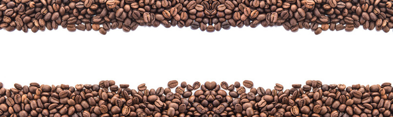 roasted coffee beans, can be used as a background, Beans isolated on  white background, Free from copy space.