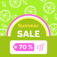 Summer Sale Poster with 70 Discount off Vector
