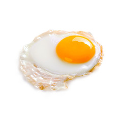 Fond de hotte en verre imprimé Ouf fried egg, isolated on white