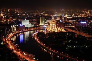 Moscow, Москва, аэросъемка, ночь, ночной город, the white house, Белый дом,  hotel Ukraine