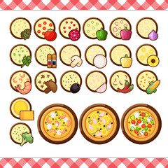 Vector - Pizza constructor flat icons isolated on white background. ingredient food menu illustration isolated collection. Different make your own