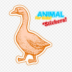 Farm animal goose in sketch style on colorful sticker. Isolated on transparent background. Can be used for cute coloring book for children. Include silhouette for paper cutting