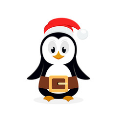 Christmas penguin with Santa hat on white background