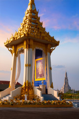 The replica of royal crematorium of His Majesty late King Bhumibol Adulyadej built for the royal funeral at  Nakaphirom Park on the opposite side of Wat Arun Temple