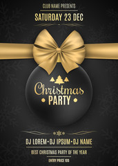 Invitation to a Christmas party. Black ball with a gold ribbon on a black background with snowflakes. The names of the DJ and club. Gold text on a dark background. Vector illustration