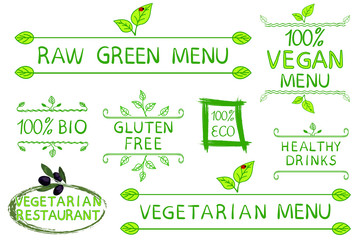 Hand drawn set of typographic elements isolated on white background. Raw, vegetarian and vegan menu. Vegetarian restaurant. Eco, gluten free products. Healthy drinks. VECTOR sketch.