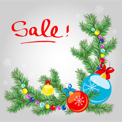 """Real Christmas spruce tree. New Year's banner """"Sale!"""""""